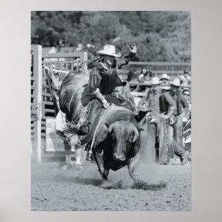 Rider hanging on to bucking bull poster