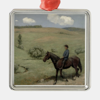 Rider in a Landscape, 1894 (oil on board) Christmas Ornament