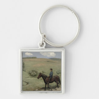Rider in a Landscape, 1894 (oil on board) Keychain