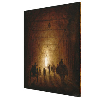 Riders and Pedestrians Passing Through an Arched P Canvas Print