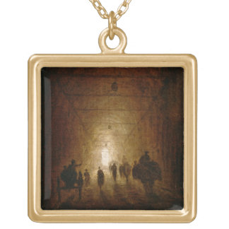 Riders and Pedestrians Passing Through an Arched P Gold Plated Necklace