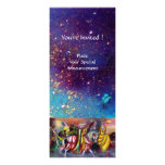 RIDERS IN THE NIGHT ,bright vibrant blue sparkles Personalised Invitation