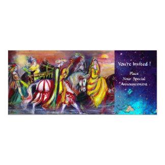 """RIDERS IN THE NIGHT ,bright vibrant blue sparkles 4"""" X 9.25"""" Invitation Card"""