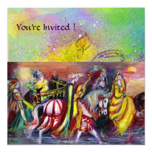 RIDERS IN THE NIGHT ,yellow purple green sparkles Personalized Invitations