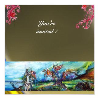 RIDERS IN THE STORM gem grey 13 Cm X 13 Cm Square Invitation Card