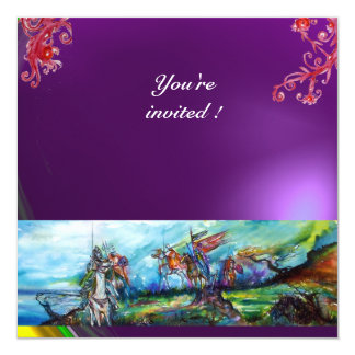 RIDERS IN THE STORM gem purple 13 Cm X 13 Cm Square Invitation Card