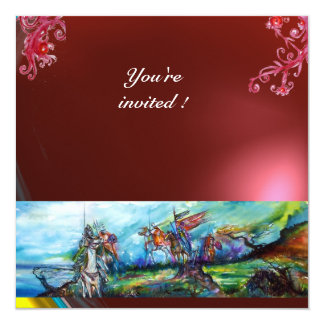 RIDERS IN THE STORM gem red 13 Cm X 13 Cm Square Invitation Card