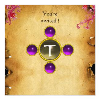 "RIDERS IN THE STORM monogram amethyst 5.25"" Square Invitation Card"