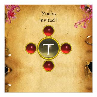 RIDERS IN THE STORM monogram ruby Custom Invitation