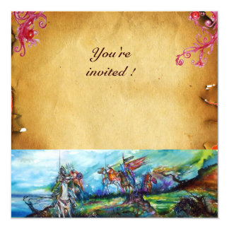 RIDERS IN THE STORM  parchment 13 Cm X 13 Cm Square Invitation Card
