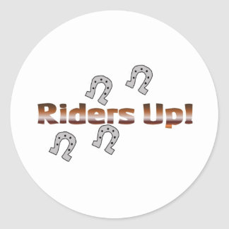 riders up! silver horseshoes round sticker