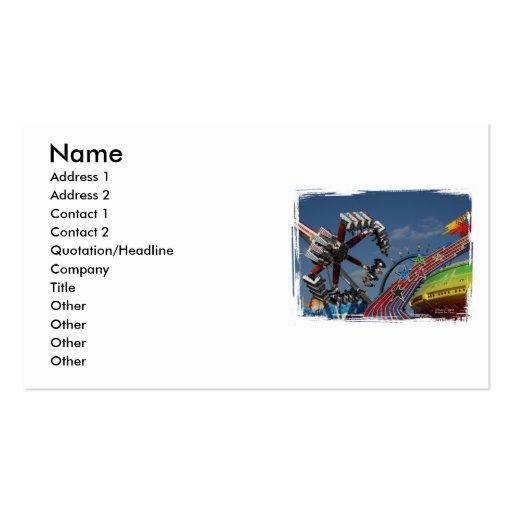 Rides at a county fair against a blue sky business card template