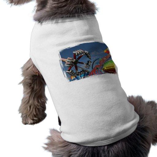 Rides at a county fair against a blue sky doggie tee shirt