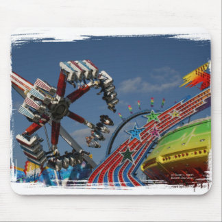 Rides at a county fair against a blue sky mouse pad