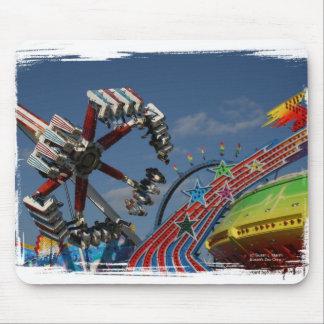 Rides at a county fair against a blue sky mousepad