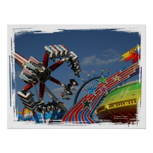 Rides at a county fair against a blue sky poster