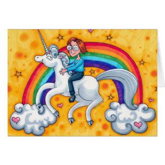 Riding a Unicorn Birthday card template