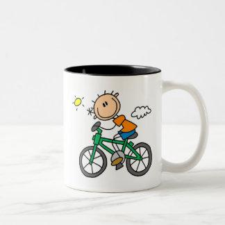 Riding Bicycle - Male Two-Tone Coffee Mug