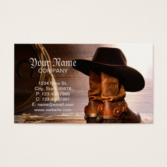 Riding Boots and Cowboy Hat Business Card