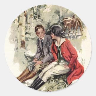 Riding Date Round Sticker