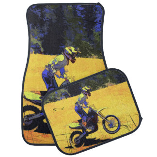 Riding Hard! - Motocross Racer Car Mat
