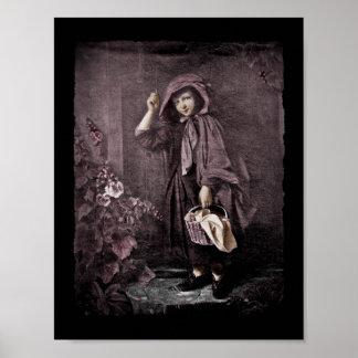 Riding Hood on Grandmas Doorstop Poster