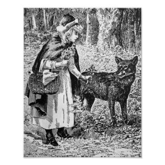 Riding Hood Wolf in Forest Illustration Poster
