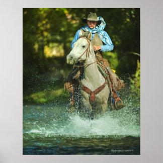 Riding horse through water poster