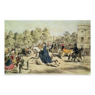 Riding in Rotten Row, Hyde Park Poster
