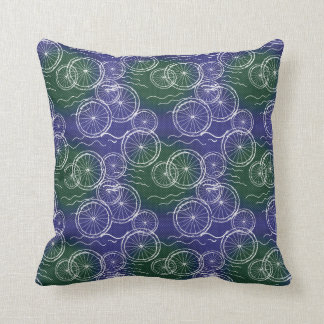 Riding my Bicycle - green and blue repeat pattern Cushion