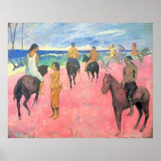 Riding on the beach by Eugène Henri Paul Gauguin Poster