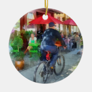 Riding Past the Cafe Christmas Tree Ornament