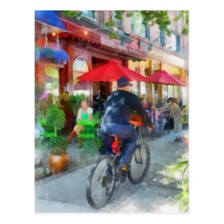 Riding Past the Cafe Postcard