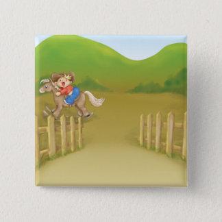 riding rocking little cowboy boy 15 cm square badge