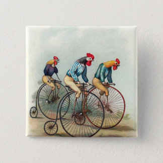 Riding Roosters 15 Cm Square Badge