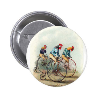 Riding Roosters 6 Cm Round Badge
