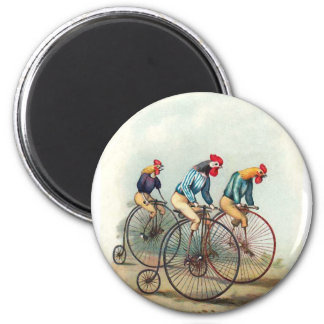 Riding Roosters 6 Cm Round Magnet
