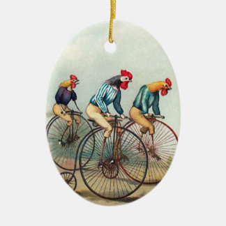 Riding Roosters Christmas Ornament