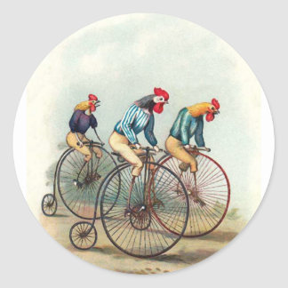 Riding Roosters Classic Round Sticker