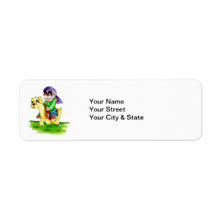 riding the dog return address label