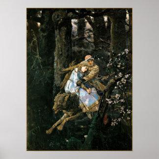 Riding the Grey Wolf Fantasy Art Poster Print