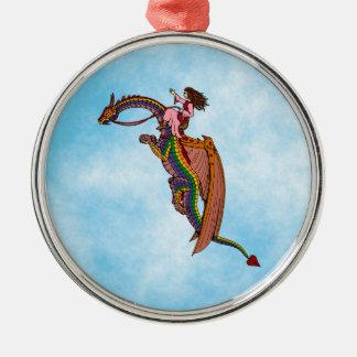 Riding the Rainbow Dragon Christmas Ornament