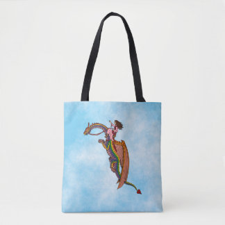 Riding the Rainbow Dragon Tote Bag