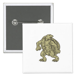 Ridley Sea Turtle Martial Arts Stance Drawing 15 Cm Square Badge