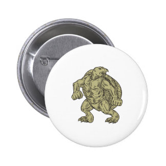 Ridley Sea Turtle Martial Arts Stance Drawing 6 Cm Round Badge