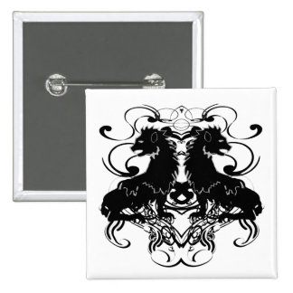 Rielaboration of Vintage Lions with Swirls 15 Cm Square Badge