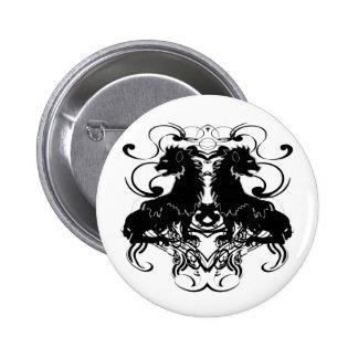 Rielaboration of Vintage Lions with Swirls 6 Cm Round Badge