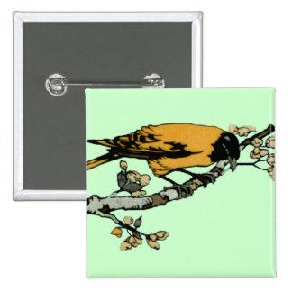 Rielaboration of Yellow Vintage Bird Illustration 15 Cm Square Badge