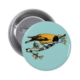 Rielaboration of Yellow Vintage Bird Illustration 6 Cm Round Badge