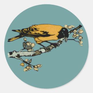 Rielaboration of Yellow Vintage Bird Illustration Classic Round Sticker
